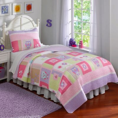 Happy Owls Twin Quilt Set