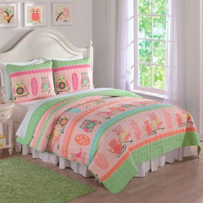Owl Stripe Twin Quilt Set