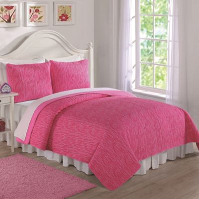 Space Dye Print Reversible Twin Quilt Set in Pink