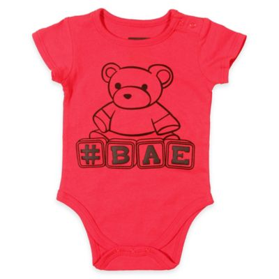 """FREEZE """"#BAE"""" Size 0-3M Short-Sleeve Bodysuit in Red"""