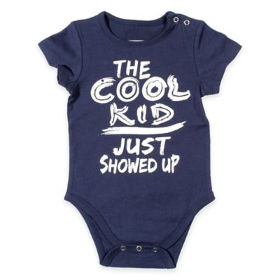 "FREEZE Size 6-9M ""The Cool Kid Just Showed Up"" Bodysuit in Navy"