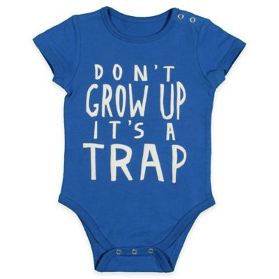 "FREEZE Size 6-9M ""Don't Grow Up It's A Trap"" Bodysuit in Royal Blue"