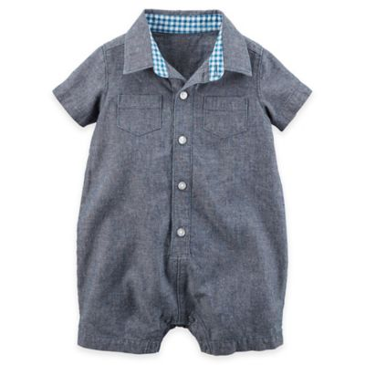 Chambray Button-Front Romper