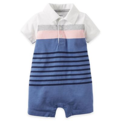 carter's® Size 18M Striped Jersey Polo Romper in Blue/White