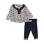 Lucky® Size 12M Nicolette 2-Piece Floral Top and Faux Denim Legging Set