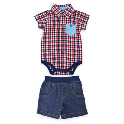 Kel & Co. Size 0-3M 2-Piece Button-Down Plaid Bodysuit and Denim Short Set in Red