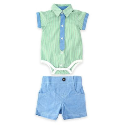 Kel & Co. Size 0-3M 2-Piece Button-Down Bodysuit and Chambray Short Set in Green