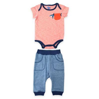 Kel & Co. Size 3-6M 2-Piece Shark Pocket Bodysuit and Jogger Pant Set in Orange/Blue