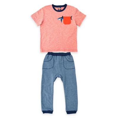 Kel & Co. Size 18M 2-Piece Shark Pocket Shirt and Jogger Pant Set in Orange/Blue