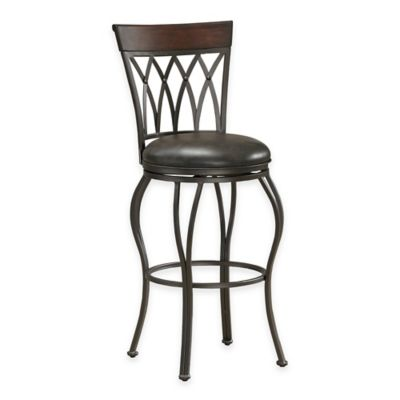 American Heritage Palermo Swivel Bar Height Stool in Grey