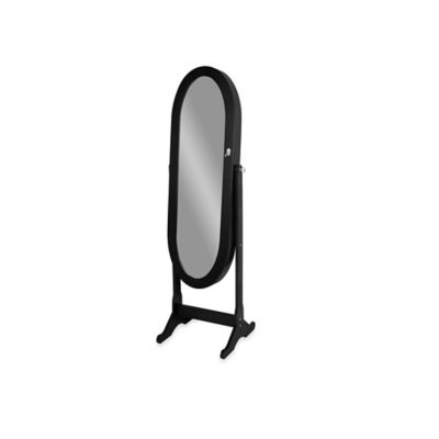 Baxton Studio Apache Free-Standing Mirror Jewelry Armoire in Black
