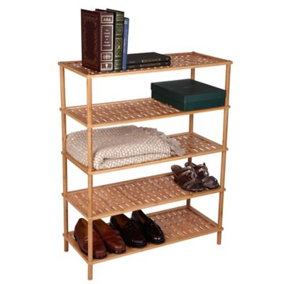 Household Essentials® 5-Tier Bamboo Basketweave Shoe Rack in Natural
