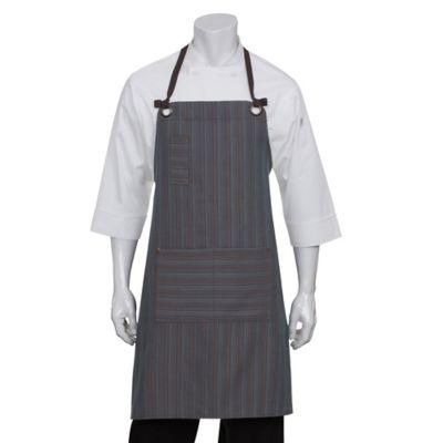 Chef Works® Striped Brooklyn Bib Apron in Blue/Chocolate