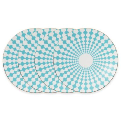 B by Brandie™ Grande Zelda Salad Plates in Turquoise/Gold (Set of 4)