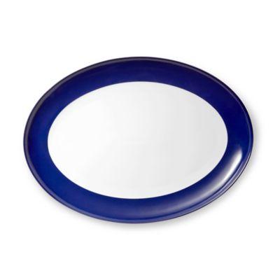 Gray Blue Oval Platter