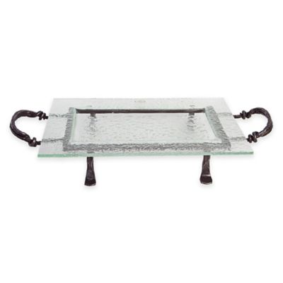 Danya B.™ 19.5-Inch Textured Rectangular Serving Platter with Stand