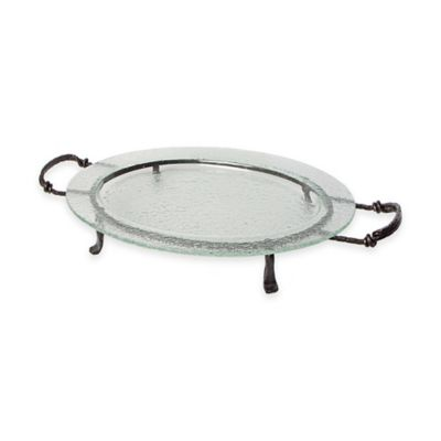Danya B.™ 21-Inch Textured Oval Serving Platter with Stand