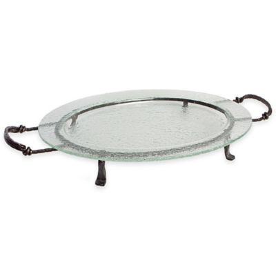 Danya B.™ 25-Inch Textured Oval Serving Platter with Stand