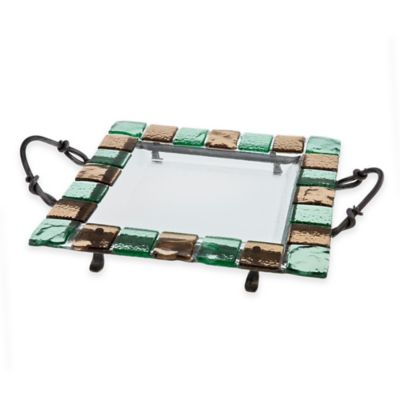 Danya B.™ 14.25-Inch Mosaic Edge Square Serving Platter with Stand