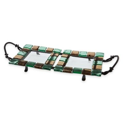 Danya B. Double Square Platters with Stand in Green/Brown