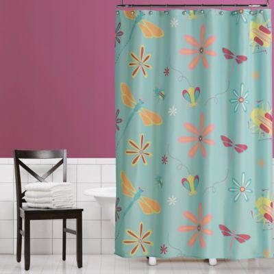 Flowers & Bugs Fabric Shower Curtain