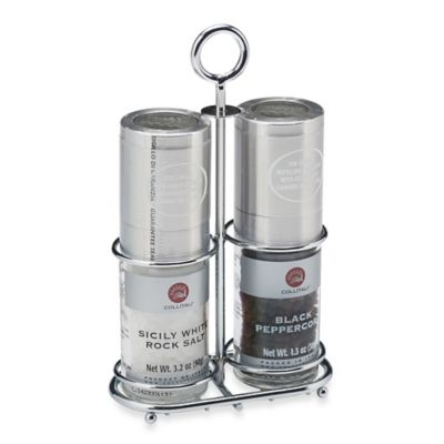 Collitali Sea Salt and Pepper Mills Set with Metal Rack
