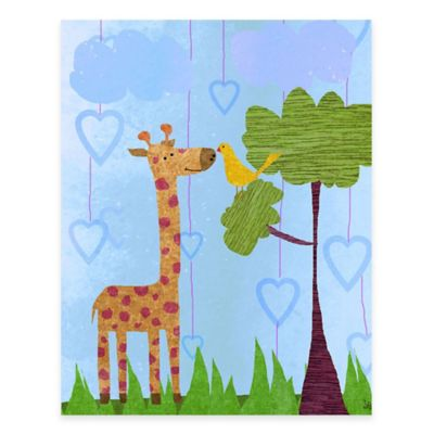 Green Leaf Art Giraffe Canvas Wall Art