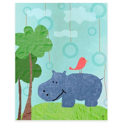 Green Leaf Art Hippo and Bird Canvas Wall Art