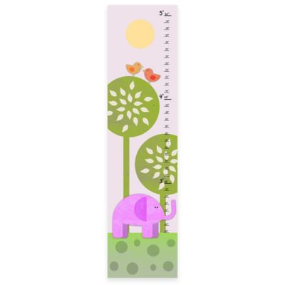 Green Leaf Art Elephant and Birds Growth Chart