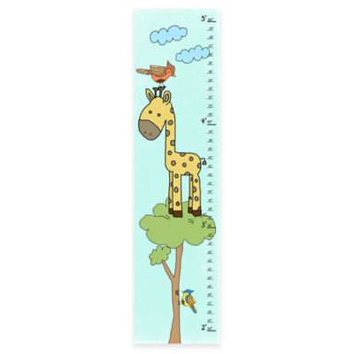 Green Leaf Art Giraffe on Tree Growth Chart