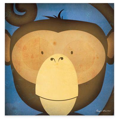 Green Leaf Art Monkey Canvas Wall Art