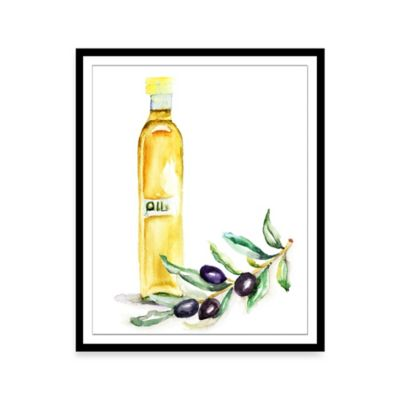Watercolor Olive Oil Framed Print Wall Art
