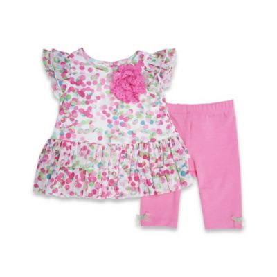 Marmelatta® Size 12M 2-Piece Mesh Watercolor Polka Dot Legging Set in Pink