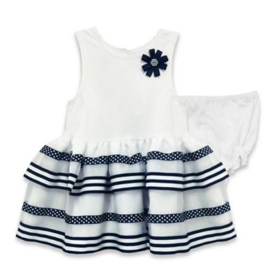 Marmellata® Size 3M Knit Tank Dress with Striped Skirt in White/Navy