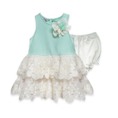 Marmelatta Size 4T Tank Dress with Tiered Lace Skirt in Mint/White