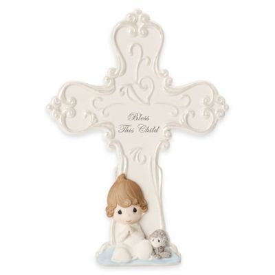 "Precious Moments® ""Bless this Child"" Baby Boy with Lamb Cross Figurine"