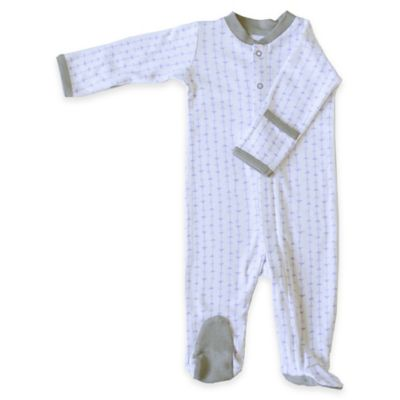 Zippyz™ Size 0-3M Arrows Zippered Footie Pajama in Purple