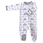 Zippyz™ Size 0-3M Elephants Zippered Footed Pajama in Purple