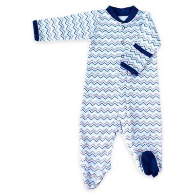 Zippyz™ Size 0-3M Chevron Zippered Footed Pajama in Blue