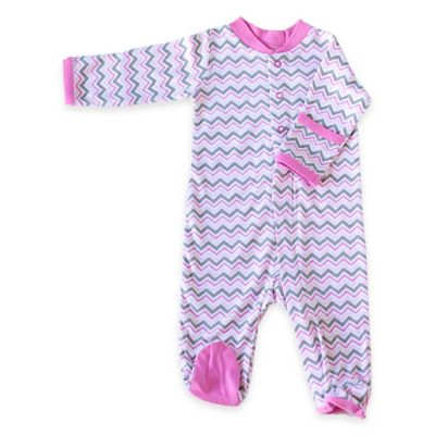Zippyz™ Size 0-3M Chevron Zippered Footed Pajama in Pink