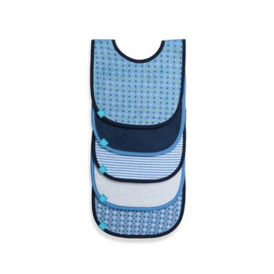 Lassig™ 5-Pack Bib Set in Blue Pattern