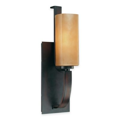 Minka Lavery® Kinston 1-Light Wall Sconce in Aged Bronze with Mottled Topaz Glass Shade