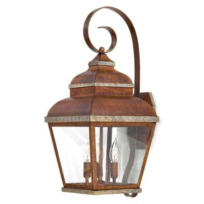 Minka Lavery® Mossoro™ 3-Light Wall-Mount Outdoor Light in Walnut