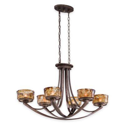 Minka Lavery® La Bohem 6-Light Island Light in Monarch Bronze with Rustic Amber Drip Glass Shade