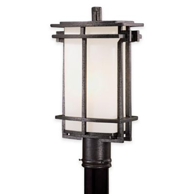 Minka Lavery® Lugarno Square™ 1-Light Post-Mount Outdoor Light in Forged Silver