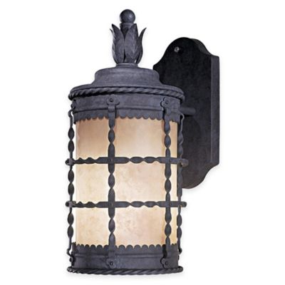 Minka Lavery® Mallorca™ Wall-Mount Outdoor 1-Light Lantern in Iron with French Scavo Glass