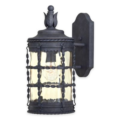 Minka Lavery® Mallorca™ Wall-Mount Outdoor 1-Light Lantern in Iron with Champagne Glass