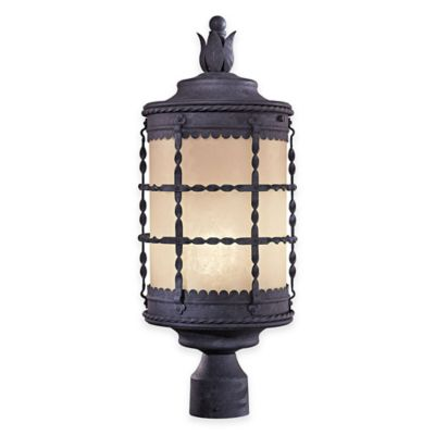 Minka Lavery® Mallorca™ Post-Mount Outdoor 1-Light Lantern in Iron