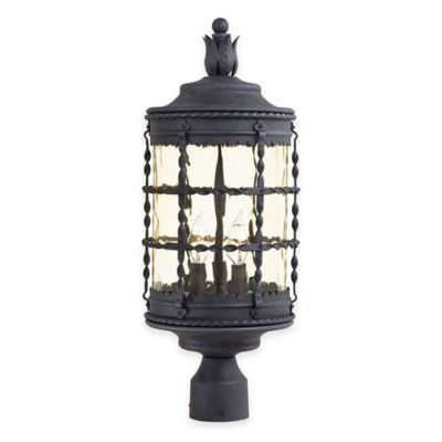 Minka Lavery® Mallorca™ Post-Mount Outdoor 3-Light Lantern in Iron