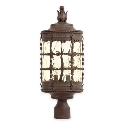Minka Lavery® Mallorca™ Post-Mount Outdoor 3-Light Lantern in Rust